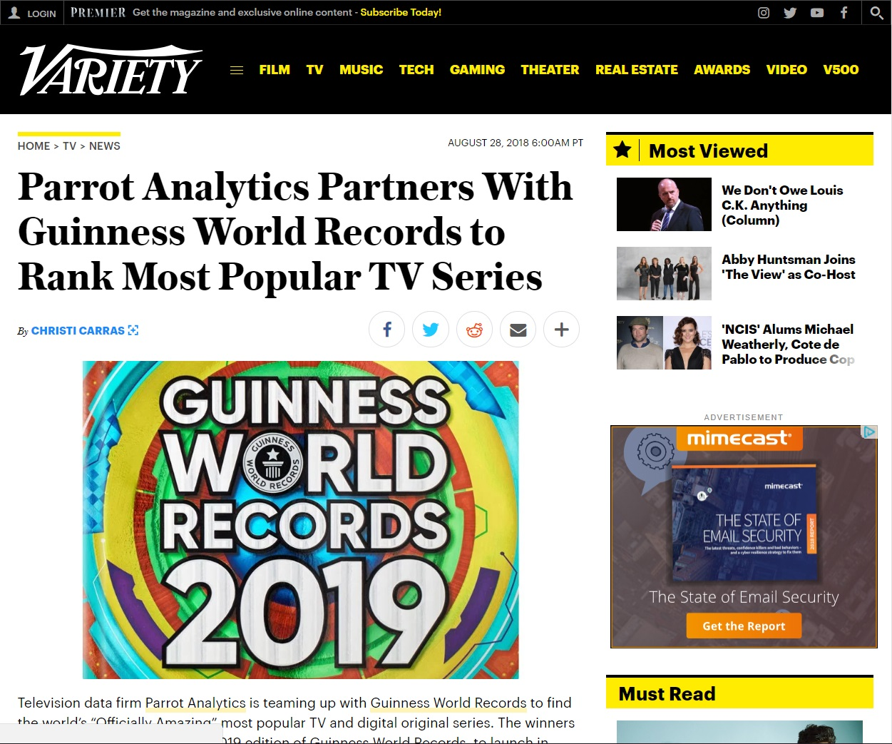 Parrot Analytics Partners With Guinness World Records to Rank Most Popular TV Series
